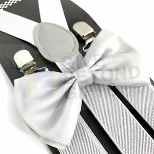 b0d1710e5efc Suspender and Bow Tie Adults Men Silver Set Wedding Formal Wear ...