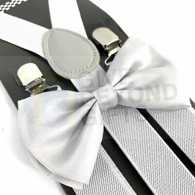 Suspender and Bow Tie Adults Men Plain Black Wedding Formal Wear Accessories