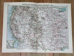 1932 ORIGINAL VINTAGE MAP OF WESTERN USA CALIFORNIA / INDIAN ... on
