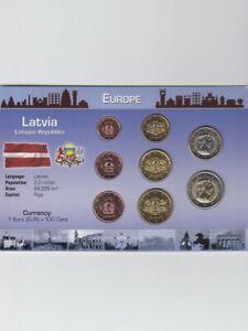 Latvia-Lettland-Kursmuenzen-Satz-2014-8-Muenzen-3-88-Unc-St