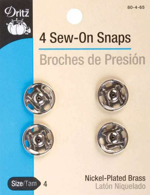 Brouches de presión by Dritz Size 1 Nickel-Plated Brass New 8 Sew-On Snaps