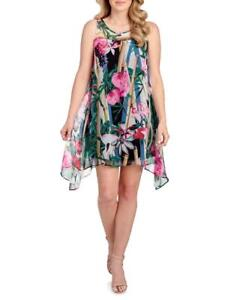 f895863fa4cab NEW SIGNATURE BY ROBBIE BEE Tropical Floral Print Chiffon Dress Size ...
