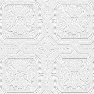Octagonal-Medallion-Tiles-Paintable-Wallpaper-48928-per-Double-Roll