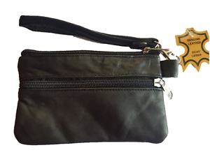 Black-Leather-Ladies-Coin-Bag-Gents-Key-Purse-Men-Card-Pouch-BNIP-GIFT-UK-Stock