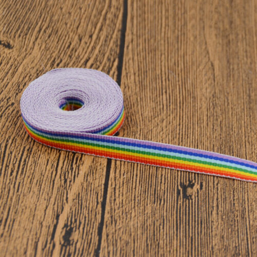 3m Rainbow Striped Ribbon Colorful  Rainbow printed Woven Grosgrain DIY Crafts