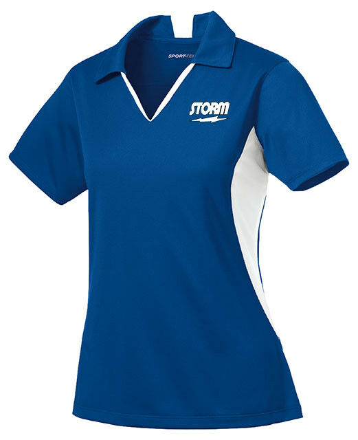 Storm Women's Mix Performance Polo Bowling Shirt Dri-Fit Royal bluee White