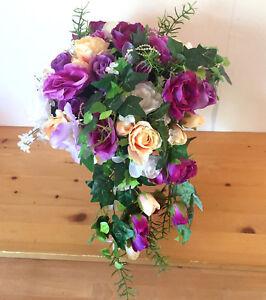 Brautstrauss Hochzeitsstrauss Lila Weiss Blumenstrauss Hochzeit Ebay