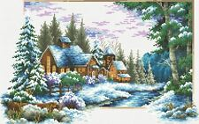 "Charming Winter River Cottage 14 Counted Cross Stitch Kit-19.3""x 13.8""--UKseller"