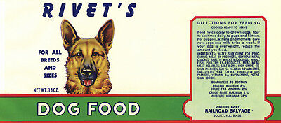 VINTAGE CAN LABEL DOG FOOD GERMAN SHEPARD ILLINOIS 1960S ADVERTISING ORIGINAL