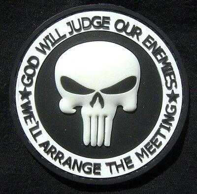 PUNISHER PVC GITD GOD WILL JUDGE OUR ENEMIES SWAT VELCRO® BRAND FASTENER PATCH