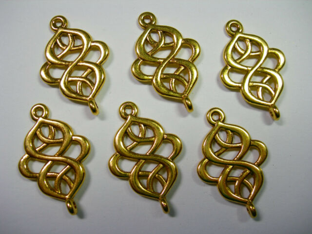 11x8mm 50 Gold Plated Brass Drop Earring Connector Hearts