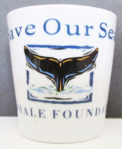 MAUI SAVE OUR SEAS PACIFIC WHALE FOUNDATION WHITE CERAMIC SHORT SHOT GLASS