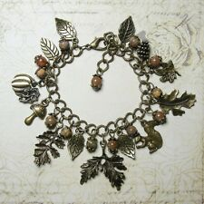 Woodland Leaf Charm Bracelet - Agate Gemstone Leaves Toadstool Pagan Squirrel