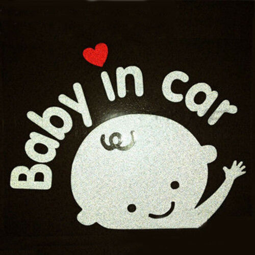 """/""""Baby In Car/"""" Waving Baby on Board Safety Sign Cute Car Decal Vinyl Sticker PVCA"""