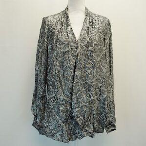 MICHAEL-Michael-Kors-Womens-Top-Pleated-V-Neck-Floral-Print-Gray-Black-Blouse