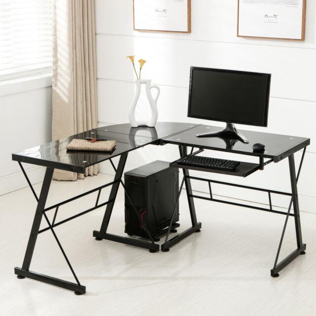 L-Shape Corner Computer Desk PC Glass Laptop Table Workstation Home Office Black