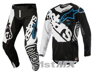 2018 Alpinestars Techstar Adult Motocross Pant Venom Black//White//Aqua MX Enduro