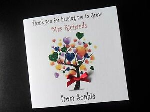 Handmade Personalised Teacher Thank You Card Nursery Teachers