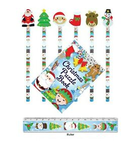 30-Christmas-Pencils-Puzzle-Book-Ruler-Sets-Kids-Party-Bag-Fillers-Teachers-Gift