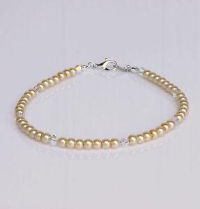 Cream Glass Pearl and Swarovski Crystal Anklet