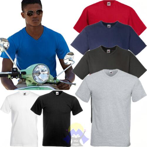 STOCK: 5 T-shirts Uomo FRUIT OF THE LOOM Collo a V SCEGLI Colori Taglie T-shirt