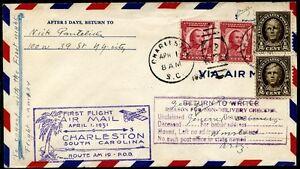 U-S-A-1931-Busta-Primo-volo-da-Charleston-a-Wislow-m1877