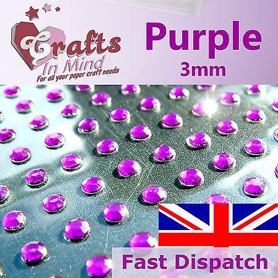 195 x 3mm Purple Rhinestone Diamante GemsRound
