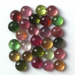 100-Natural-5-mm-Multi-Color-Tourmaline-Round-Cabochon-Loose-Gemstone