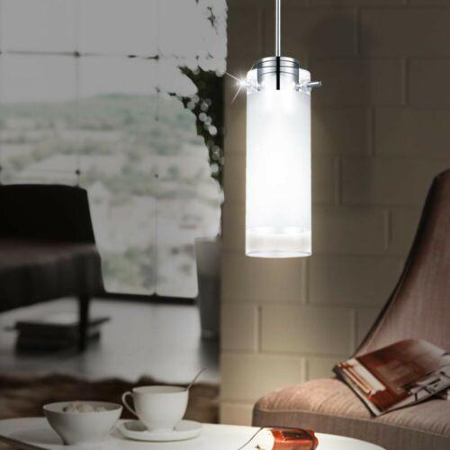 2er Set LED Glas Hängeleuchten Küchen Deckenbeleuchtung Chrom Pendellampe EEK A