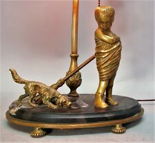 Unique Antique ITALIAN MARBLE Lamp w/ Gilt Brass Dog & Child  c. 1920  antique