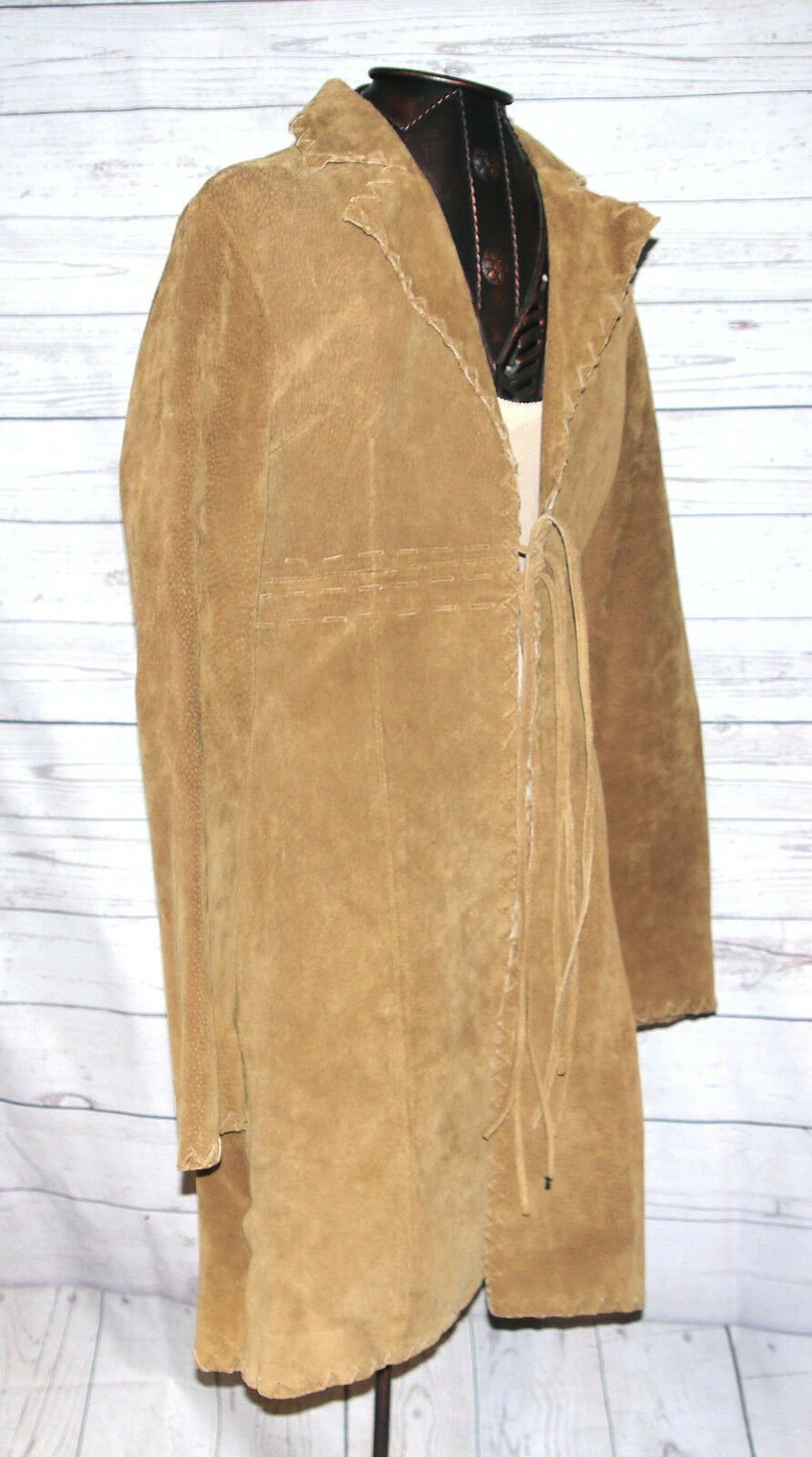 Wet Seal Women's Long Suede Suede Suede Leather Tie-Up Trench Coat Size Small fa1f0a