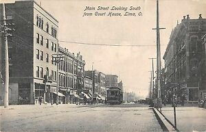 Lima Ohio Main Street Looking South Antique Postcard (J37564)