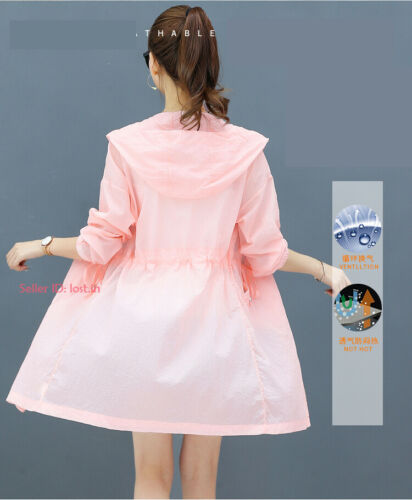Womens Sun-protective Coat Hooded Anti-UV Top Cycling Beach Jacket Breathable