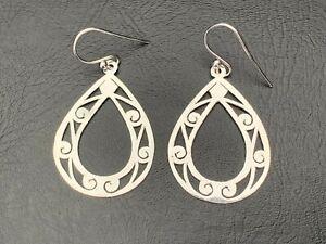 925 Sterling Silver Open Teardrop Swirls Earrings Filigree Ethnic Large Pear