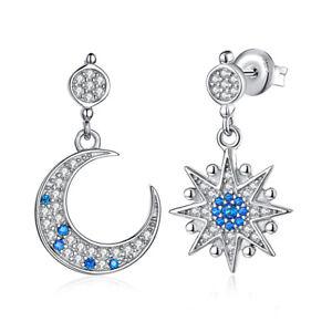 4899f6ef4d616 korean fashion 925 Sterling Silver blue Spinel Crescent Moon Star ...