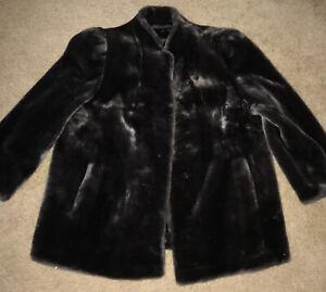 Vintage Luraseel Women Faux Fur Coat Gray Charcoal Jacket Kept Proper Storage