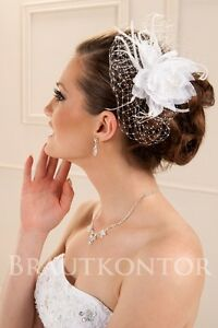 bha 32 braut haarschmuck hochzeit fascinator blumen feder organza weiss ivory. Black Bedroom Furniture Sets. Home Design Ideas