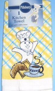 Nwt 2005 Pillsbury Doughboy Yellow Multi Velour Kitchen Towel