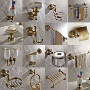 Antique Brass Carved Bathroom Accessories Set Bath Hardware Towel