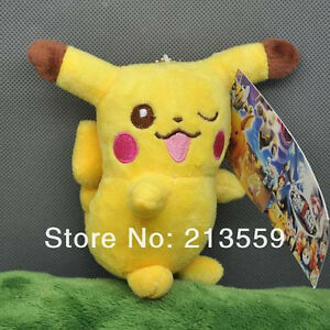 "* New * Pokemon Pikachu Cute 4 1/2"" Anime Plush Key Chain"