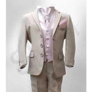 quality design ee5c0 735a0 Dettagli su Abito vestito bambino comunione completo elegante BEIGE  pantalone giacca cravatt