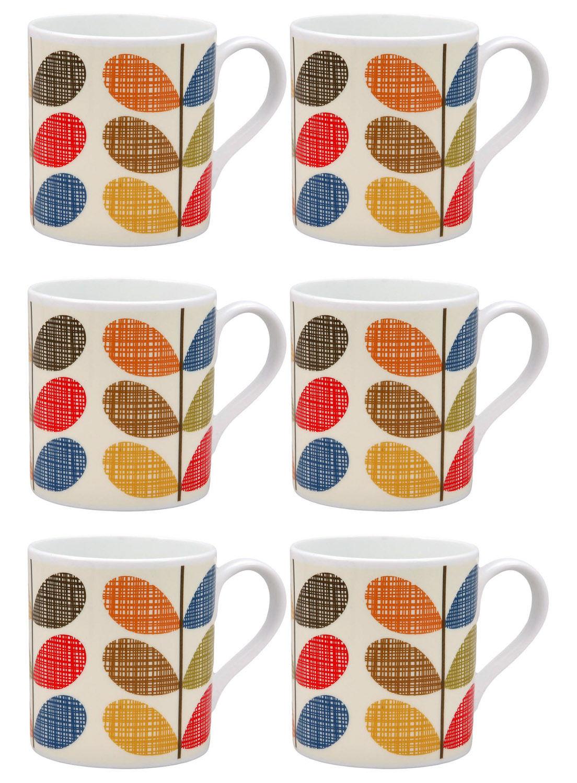 6 x Orla Kiely Scribble Mugs