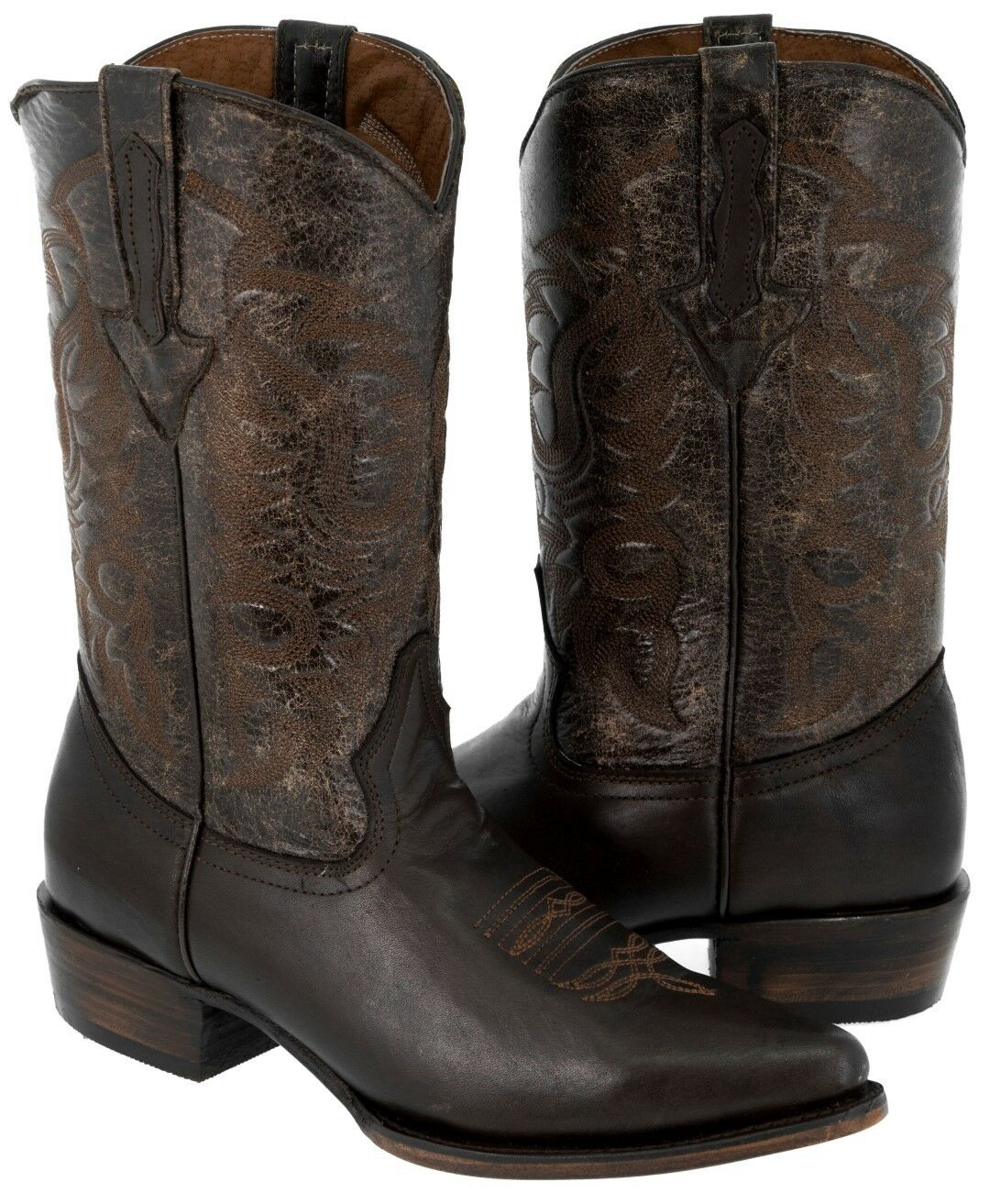 Uomo Brown Classic Smooth Leather Western Cowboy Boots J