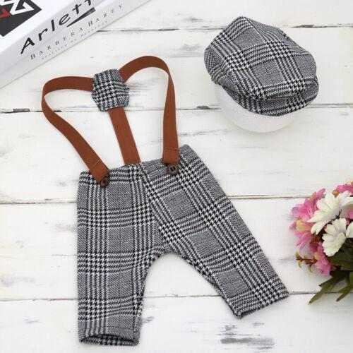 Flat Cap Photography Props Newborn Baby Boys Tweed Suspender Braced Trousers