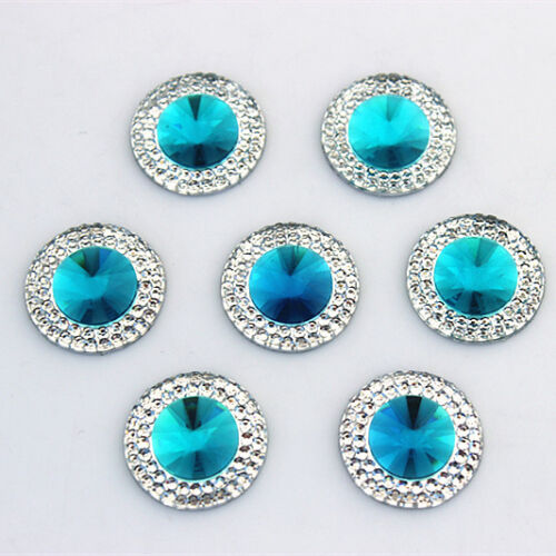 50PCS 16//20mm Resin Rhinestones Round crystal Stone Flatback Beads ZZ489