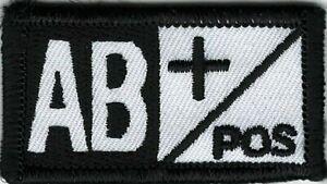 Noir Blanc Alerte Médicale Sang Type Ab + Positif Patch hook & loop tape Faste