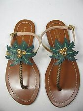 sz 7 NEW KATE SPADE New York Solana Gold Leather flat Palm Sandals womens shoes