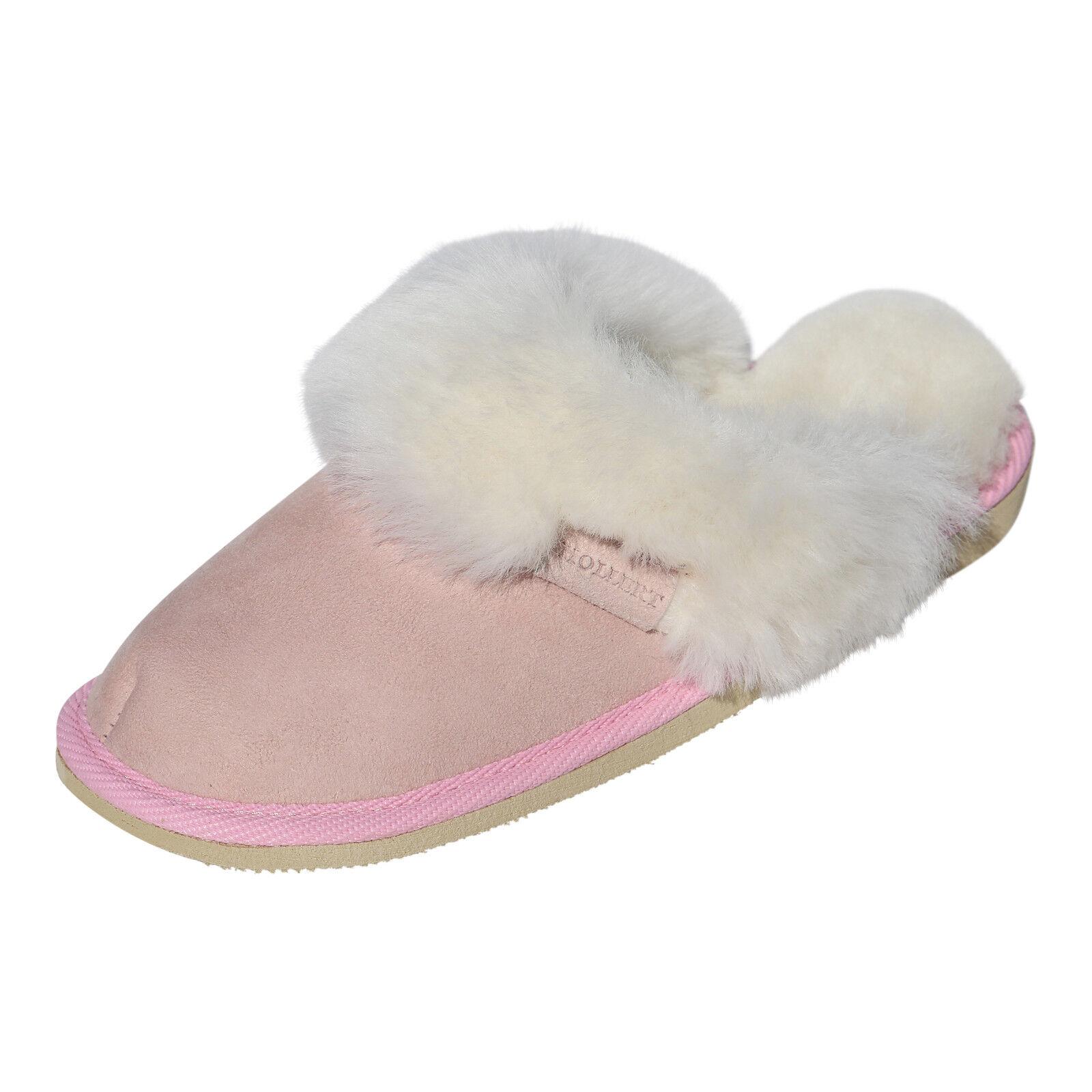 Pelle di pecora Pantofole donna MALIBU scarpe pelliccia cuoio