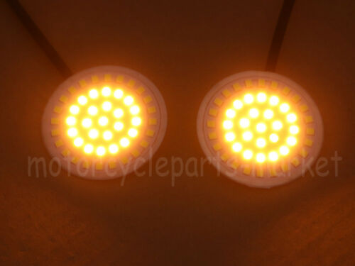 """USA 2/"""" BULLET Style 1157 A//W LED Light Turn Signal Inserts for Harley Davidson"""