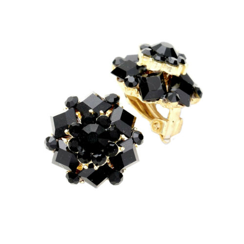 Luxus Cocktail Ohrclips Clips Clip Ohrringe Gold Kristall Schwarz 2 cm Durch.